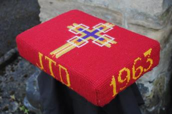 Kneeler - Donated By: Davidson Family; Dedicated To: Mrs J T Davidson; Worked By: Florence Brammer;