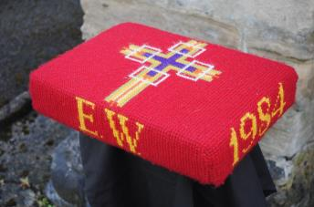 Kneeler - Donated By: Mrs Alice Hall; Dedicated To: Mrs E Walker; Worked By: Florence Brammer;