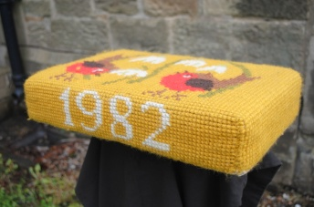 Kneeler - Donated By: Mr Jackson & family; Dedicated To: Mrs Jackson; Worked By: Mary Glaister;
