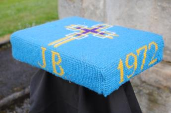 Kneeler - Donated By: Florence, Colin & Glenda Brammer; Dedicated To: John Brammer; Worked By: Florence Brammer;