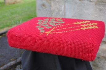 Kneeler - Donated By: Colin, Glenda & Nicola Brammer; Dedicated To: Mrs  Reece; Worked By: Florence Brammer;