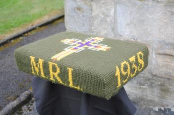 Kneeler - Donated By: Peggy & Albert Licience; Dedicated To: Margaret Licience; Worked By: Florence Brammer;