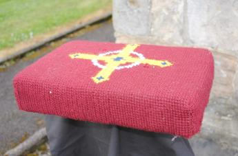 Kneeler - Donated By: Doris, Alice, Elsie and Florence; Dedicated To: Edna Jackson; Worked By: Florence Brammer;