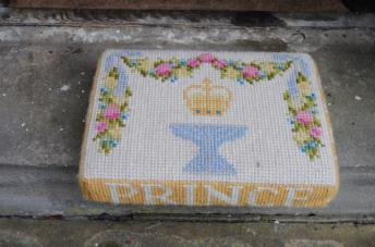Kneeler - Donated By: Prince 1982; Dedicated To: St. Andrews Mother Union; Worked By: Florence Brammer;